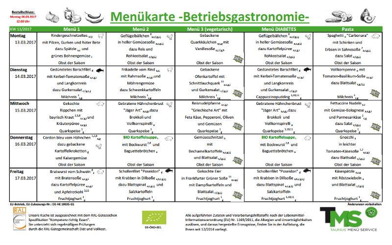 Aktuelle Speisepläne für Schulen, Betriebsgastronomie und Hochtaunus ...